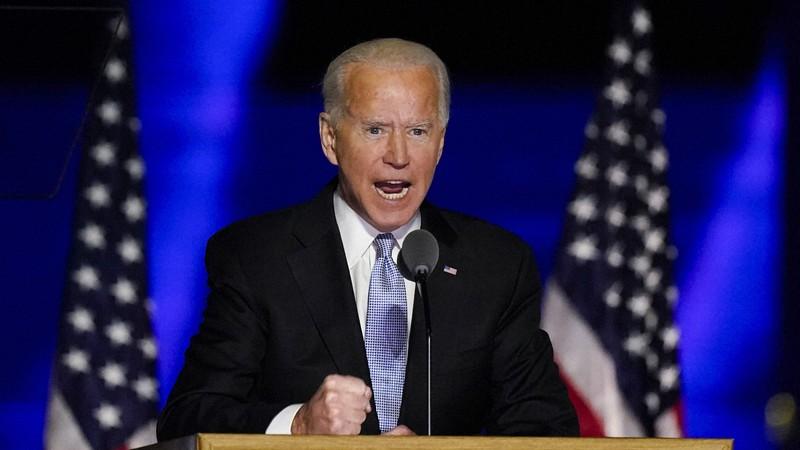 大統領選で勝利を確実にしたバイデン氏=2020年11月7日、AP