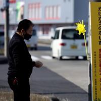 「世界道路交通犠牲者の日」に合わせて、次男敦司さんが犠牲となった事故現場に黄色い風車を設置する楠野祇晴さん=栃木市で2020年11月15日、小川昌宏撮影