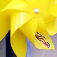 「世界道路交通犠牲者の日」に合わせて、県警が死亡事故現場に設置した黄色い風車。メッセージが貼られている=秋田県潟上市で2020年11月11日、小川昌宏撮影