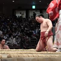 外こまたで照強に敗れた炎鵬=東京・両国国技館で2020年11月21日、竹内紀臣撮影