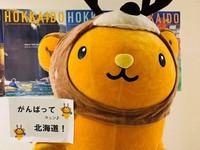 JR北海道硬式野球クラブ(札幌市)にエールを送る北海道観光PRキャラクターの「キュンちゃん」