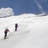 郡山勤労者山岳会の仲間と高度慣れのため富士山に登る=2019年5月4日、藤原章生撮影