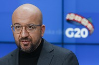 European Council President Charles Michel speaks during a press briefing ahead to a G20 online meeting in Brussels on Nov. 20, 2020. (Olivier Hoslet, Pool Photo via AP)