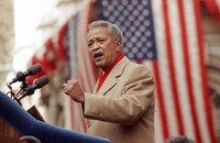 In this Jan. 2, 1990, file photo, David Dinkins delivers his first speech as mayor of New York, in New York. Dinkins, New York City's first African-American mayor, died on Nov. 23, 2020. He was 93. (AP Photo/Frankie Ziths)