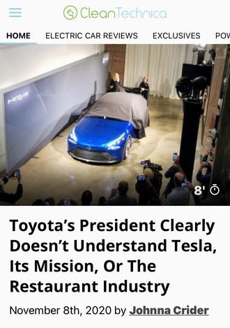 「トヨタ社長はテスラのミッションを理解していない」と報じた米CleanTechnicaのウェブサイト