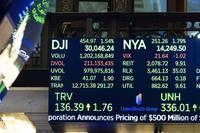In this photo provided by the New York Stock Exchange, a board above the trading floor shows the closing number for the Dow Jones Industrial Average, on Nov 24, 2020.  (Nicole Pereira/New York Stock Exchange via AP)