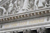 The sign is displayed at the New York Stock Exchange in New York on Nov. 23, 2020. (AP Photo/Seth Wenig)