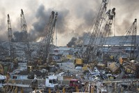 The aftermath of a massive explosion is seen in in Beirut, Lebanon, on Aug. 4, 2020. (AP Photo/Hassan Ammar)