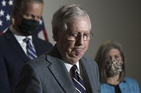 Senate Majority Leader Mitch McConnell, R-Ky., arrives to talk to reporters after a Republican Conference luncheon, on Capitol Hill in Washington, on Nov. 17, 2020. (AP Photo/J. Scott Applewhite)
