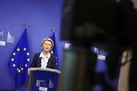 European Commission President Ursula von der Leyen gives a statement at the EU headquarters in Brussels, on Nov. 16, 2020. (Kenzo Tribouillard, Pool Photo via AP)