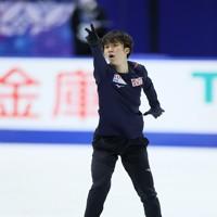 フィギュアスケートNHK杯の前日練習で滑る友野一希=東和薬品ラクタブドームで2020年11月26日(代表撮影)