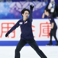 フィギュアスケートNHK杯の前日練習で滑る三浦佳生=東和薬品ラクタブドームで2020年11月26日(代表撮影)