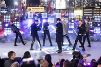 Members of BTS perform at the Times Square New Year's Eve celebration in New York on Dec. 31, 2019. (Photo by Ben Hider/Invision/AP)