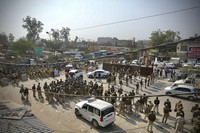 Policemen are deployed at the Haryana-New Delhi border to block protesting farmers from marching to the capital in New Delhi, India, on Nov.26, 2020. (AP Photo/Manish Swarup)