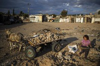 A Palestinian girl walks next to a donkey cart loaded with rocks in a slum on the outskirts of Khan Younis Refugee Camp, in the southern Gaza Strip, on Nov. 25, 2020. (AP Photo/Khalil Hamra)