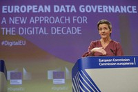 European Commissioner for Europe fit for the Digital Age Margrethe Vestager speaks during a media conference on European Data Governance at EU headquarters in Brussels, on Nov. 25, 2020. (Stephanie Lecocq, Pool via AP)