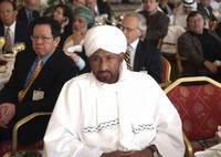 In this April 11, 2005 file photo, Sadiq Al-Mahdi, former Sudanese Prime Minister and head of the National Umma Party, attends a US-Islamic World Forum meeting in Doha, Qatar. (AP Photo)