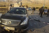 This photo released by the semi-official Fars News Agency shows the scene where Mohsen Fakhrizadeh was killed in Absard, a small city just east of the capital, Tehran, Iran, on Nov. 27, 2020. (Fars News Agency via AP)