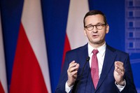 In this Sept. 17, 2020 file photo, Poland's Prime Minister Mateusz Morawiecki speaks during a news conference at the Palace of the Grand Dukes of Lithuania in Vilnius, Lithuania. (AP Photo/Mindaugas Kulbis)
