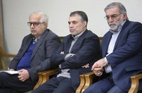 In this picture released by the official website of the office of the Iranian supreme leader, Mohsen Fakhrizadeh, right, sits in a meeting with Supreme Leader Ayatollah Ali Khamenei in Tehran, Iran, Jan. 23, 2019. (Office of the Iranian Supreme Leader via AP)