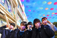 Student council members at Mie Prefectural Nabari High School are seen wearing pink masks that were inspired by a worldwide anti-bullying movement on the final day of a school festival on Nov. 27, 2020. (Mainichi/Tatsuo Eto)
