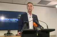 WorkSafe Chief Executive Phil Parkes talks to media in Wellington, New Zealand, on Nov. 30, 2020. (AP Photo/Nick Perry)