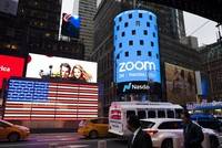 This April 18, 2019, file photo shows a Zoom ad, in New York. (AP Photo/Mark Lennihan)
