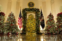 Cross Hall and the Blue Room are decorated during the 2020 Christmas preview at the White House, on Nov. 30, 2020, in Washington. (AP Photo/Patrick Semansky)