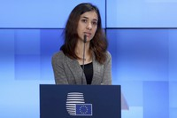 In this Nov. 26, 2018 file photo, Nobel Peace Prize laureate Nadia Murad talks during a joint statement along with Nobel Peace Laureat Denis Mukwege and European Union Foreign Policy chief Federica Mogherini, at European Council's Europa building in Brussels. (AP Photo/Francisco Seco)