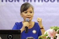 In this July 30, 2018 file photo, Vice President of the Cambodia National Rescue Party (CNRP), Mu Sochua speaks at a press conference in Jakarta, Indonesia. (AP Photo/Tatan Syuflana)