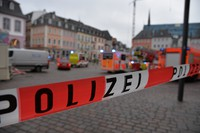 A square is blocked by the police in Trier, Germany, on Dec. 1, 2020. (Harald Tittel/dpa via AP)