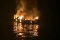 In this Sept. 2, 2019, file photo provided by the Santa Barbara County Fire Department, the dive boat Conception is engulfed in flames after a deadly fire broke out aboard the commercial scuba diving vessel off the Southern California Coast. (Santa Barbara County Fire Department via AP)