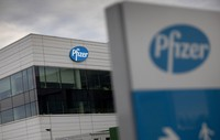This Nov. 9, 2020 photo shows a general view of Pfizer Manufacturing Belgium in Puurs, Belgium. (AP Photo/Virginia Mayo)