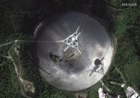 This satellite image provided by 2020 Maxar Technologies shows the damaged radio telescope at the Arecibo Observatory in Puerto Rico, on Nov. 17, 2020. (Satellite image courtesy of Maxar Technologies via AP)