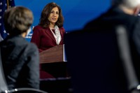 Neera Tanden who U.S. President-elect Joe Biden nominated to serve as Director of the Office of Management and Budget, speaks at The Queen theater on Dec. 1, 2020, in Wilmington, Delaware. (AP Photo/Andrew Harnik)