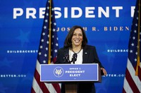 Vice President-elect Kamala Harris speaks as she and President-elect Joe Biden introduce their nominees and appointees to economic policy posts at The Queen theater, on Dec. 1, 2020, in Wilmington, Del. (AP Photo/Andrew Harnik)