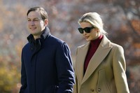 U.S. President Donald Trump's White House Senior Adviser Jared Kushner and Ivanka Trump, the daughter of President Trump, walk on the South Lawn of the White House in Washington on Nov. 29, 2020, after stepping off Marine One upon returning from Camp David. (AP Photo/Patrick Semansky)