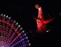 The Tower of the Sun is seen lit up in red at the Expo '70 Commemorative Park in the western Japan city of Suita, Osaka Prefecture, on Dec. 3, 2020, following the Osaka Prefectural Government's decision to issue a danger alert signal regarding novel coronavirus infections under its