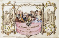 This 2017 photo provided on Dec. 3, 2020, by Battledore Ltd., of Kingston, New York, shows the first commercially produced Christmas card dated December 1843. (Dennis M V David/Battledore Ltd. via AP)