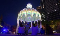 The Cassa Armonica light installation is seen in Kobe East Park in Kobe's Chuo Ward, on Dec. 4, 2020. The installation is normally part of the Kobe Luminarie memorial illumination event for the victims of the 1995 Great Hanshin Earthquake, but the annual event was canceled this year due to the coronavirus pandemic. (Mainichi/Tatsuya Fuji)