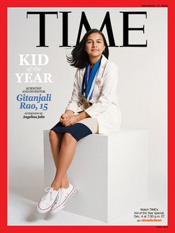 This photo provided by Time Magazine shows the cover of its Dec. 14, 2020 issue, featuring a 15-year-old Colorado high school student and young scientist who has been named the magazine's first-ever