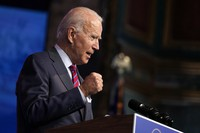 U.S. President-elect Joe Biden speaks about jobs at The Queen theater on Dec. 4, 2020, in Wilmington, Delaware. (AP Photo/Andrew Harnik)