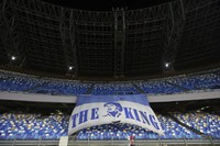 A giant banner to honor Diego Maradona is displayed in the stands prior to the Serie A soccer match between Napoli and Roma, at the Naples San Paolo Stadium in Italy, on Nov. 29, 2020. (Alessandro Garofalo/LaPresse via AP)
