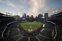 In this Oct. 6, 2020 file photo, the Tampa Bay Rays and the New York Yankees play in Game 2 of a baseball AL Division Series in an empty Petco Park in San Diego. (AP Photo/Jae C. Hong)