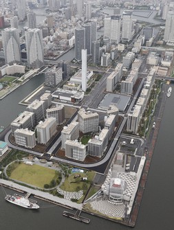 This July 11, 2020 file photo shows the athletes village built for the Olympics and Paralympics in Tokyo. (Mainichi)