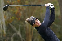 Amy Olson hits off the second tee during the third round of the U.S. Women's Open golf tournament, on Dec. 12, 2020, in Houston. (AP Photo/David J. Phillip)