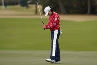 Hinako Shibuno, of Japan, reacts after missing a birdie putt on the 17th green during the final round of the U.S. Women's Open golf tournament, on Dec. 14, 2020, in Houston. (AP Photo/David J. Phillip)