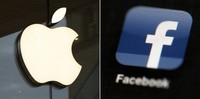 This combo of file photos shows the Apple and Facebook logos. (AP Photo)