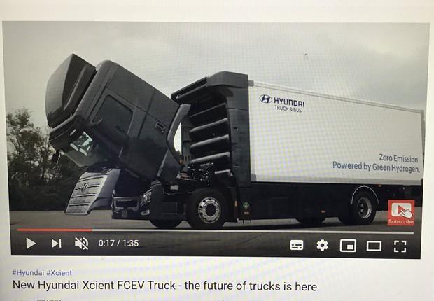 水素トラックを紹介する現代自動車の動画