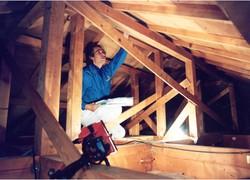 住宅の屋根裏に入って施工具合を調べる検査会社社員=埼玉県蓮田市(共同)